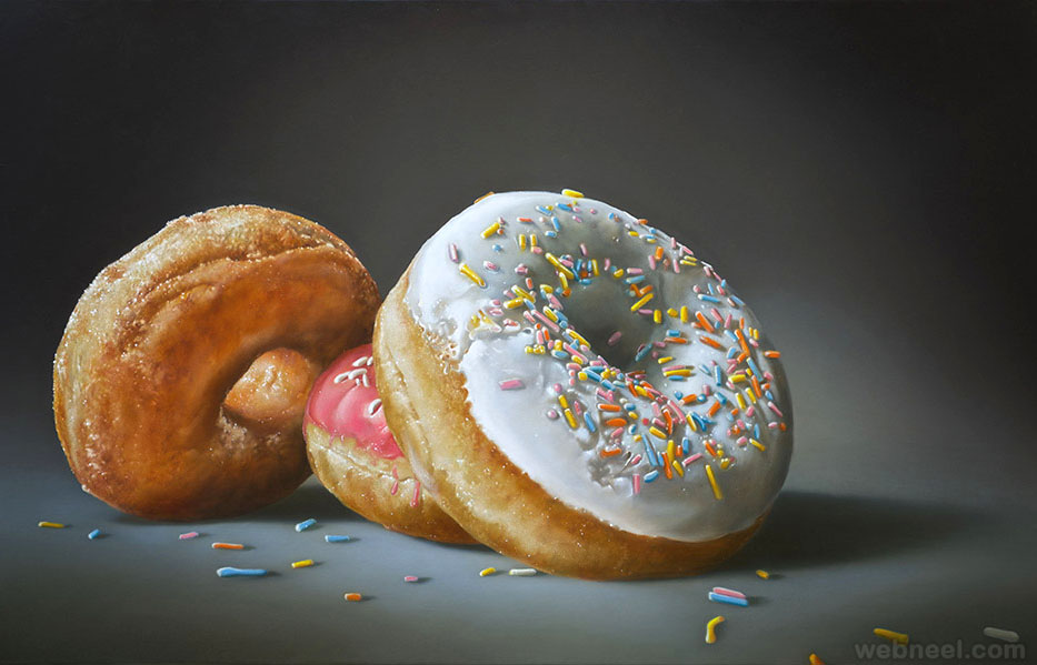 donuts realistic oil paintings