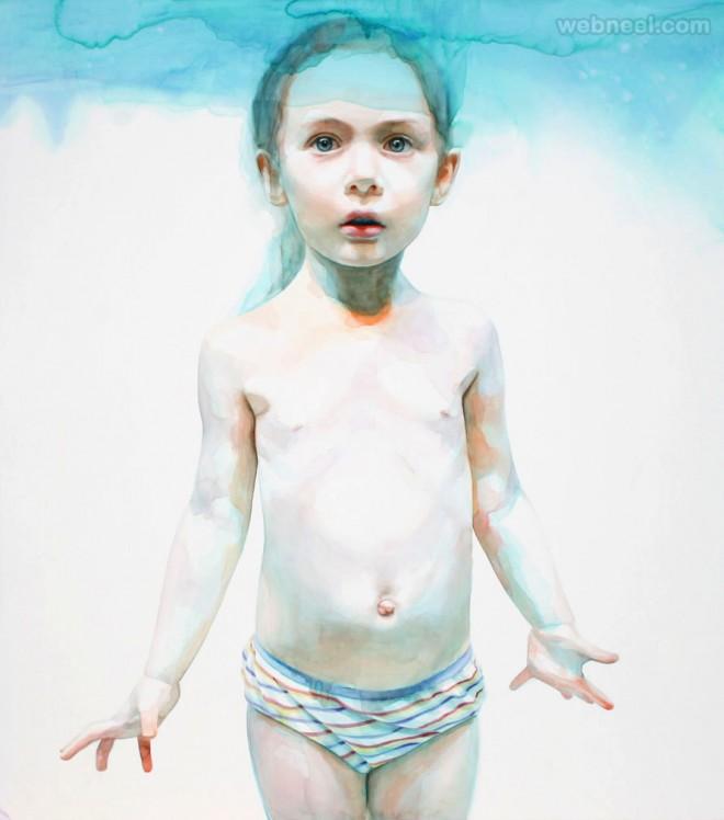 girl watercolor painting