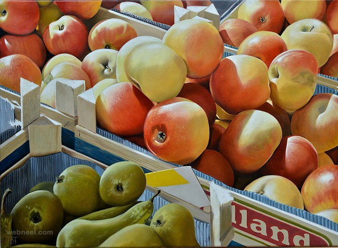 fruits realistic oil paintings