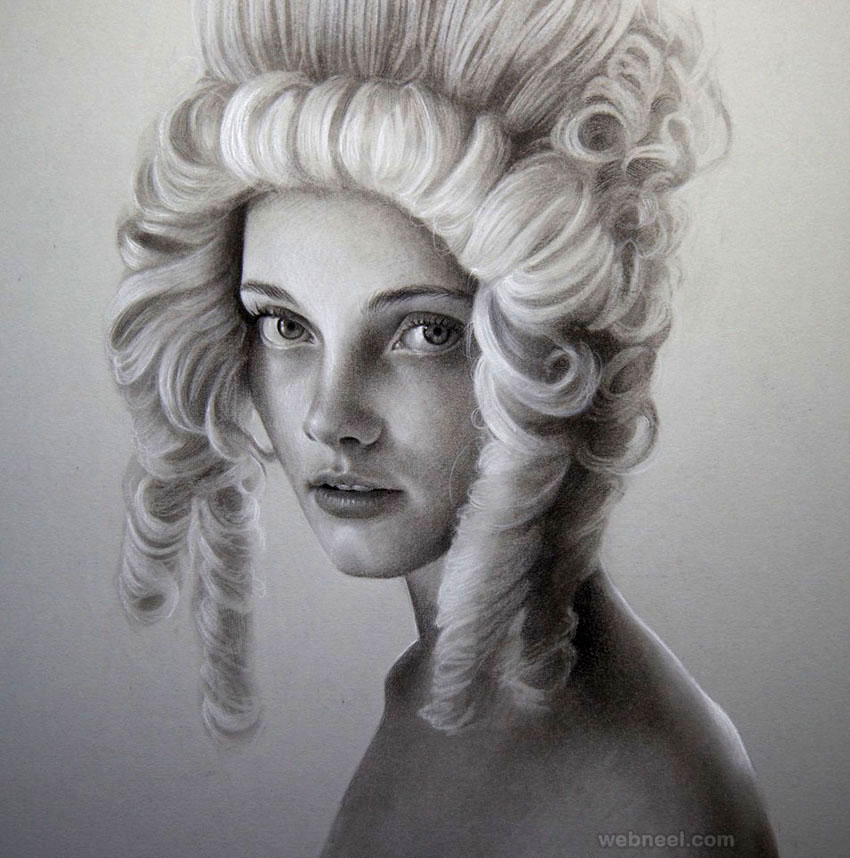 pencil portrait drawing woman by maryjane