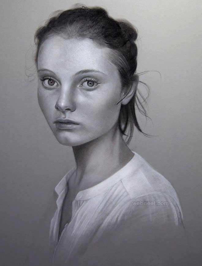 Pencil portrait drawing girl by maryjane