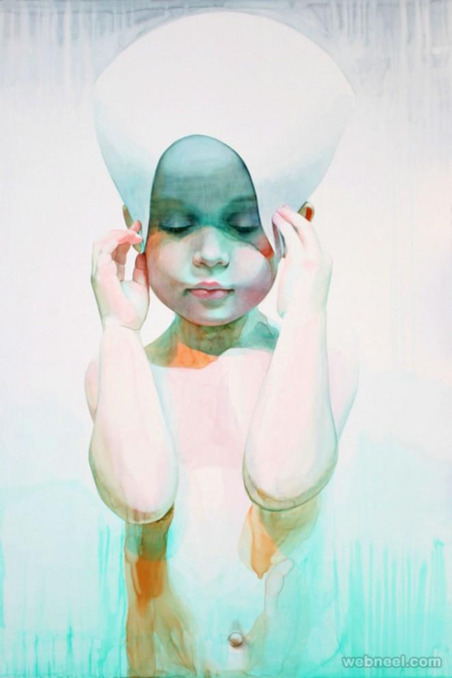 showercap watercolor painting by ali cavanaugh