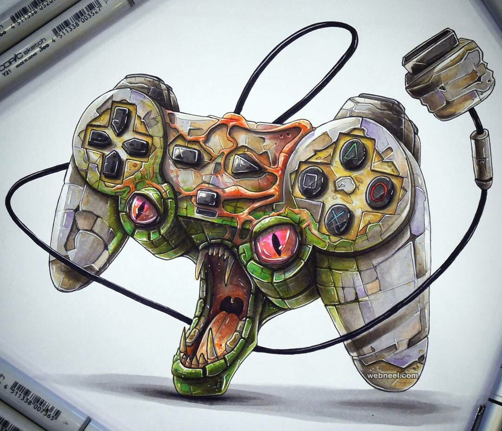 joystick creative drawings