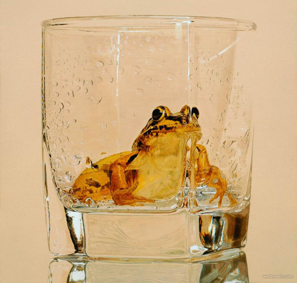 frog in glass hyper realistic painting