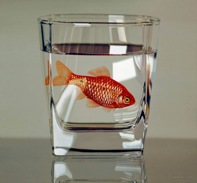 fish in glass hyper realistic painting by young sung