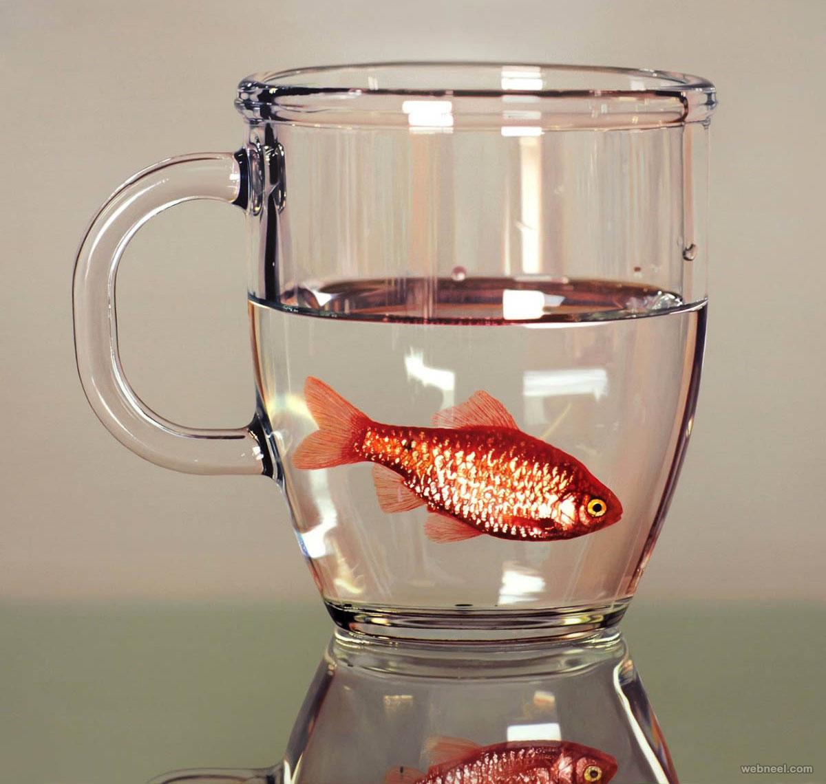 fish in mug hyper realistic painting