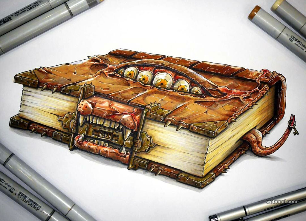 monster book creative drawings