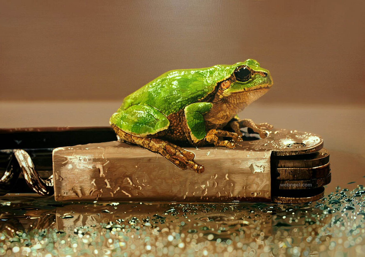 frog hyper realistic painting by youngsungkim 7