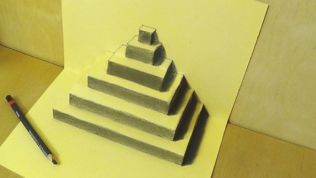 pyramid 3d drawing by sandor vamos