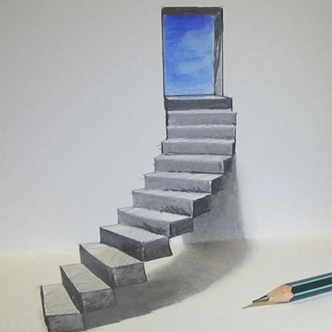 stairs door 3d drawing