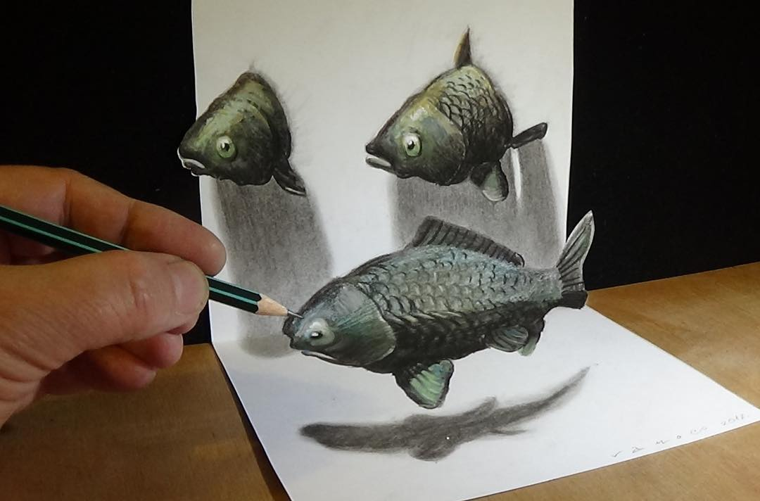 fish 3d drawing by sandor vamos