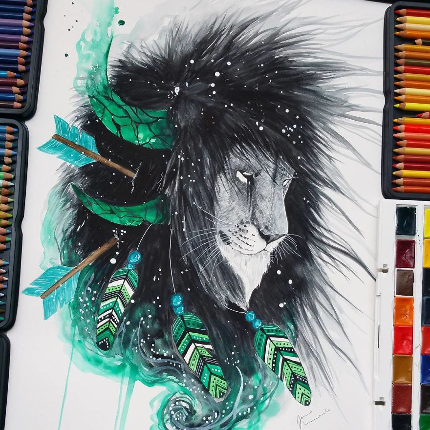 watercolor paintings piratelion by jonna hyttinen