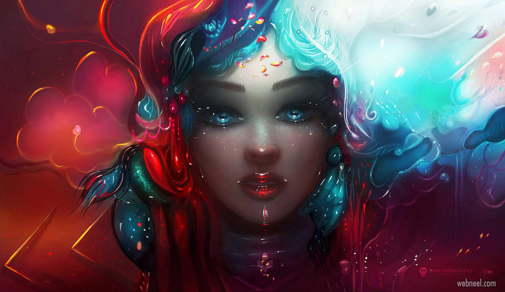 digital painting fantasy girl by stellart