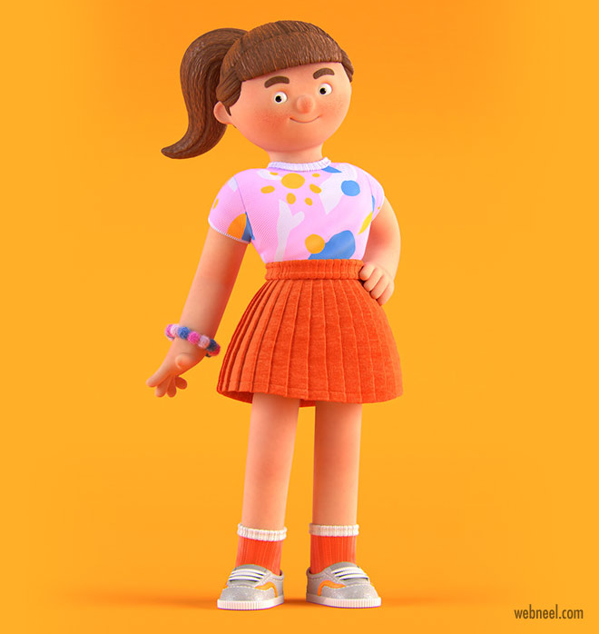 funny 3d character design model girl by elijah akouri