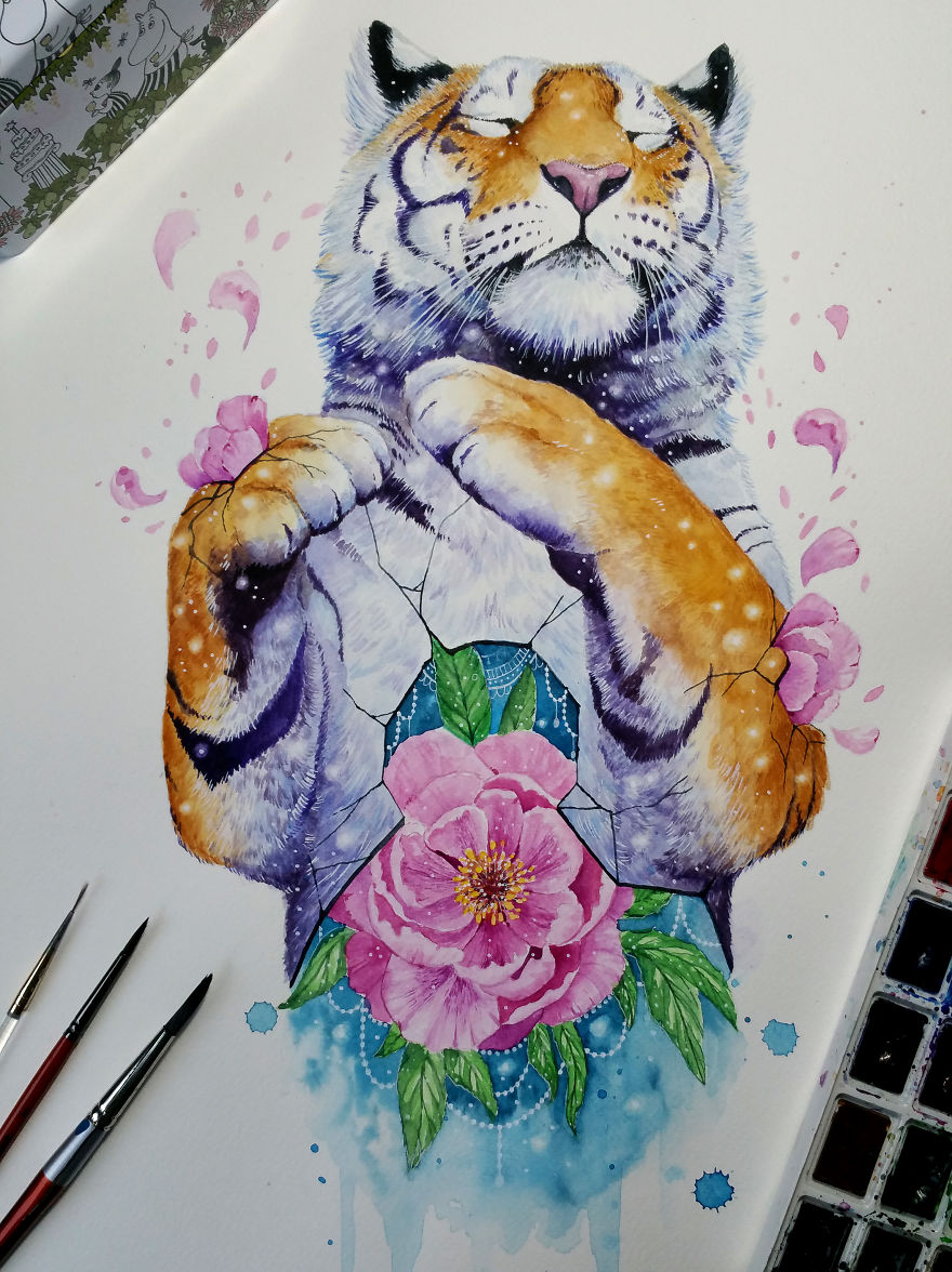 watercolor paintings tiger by jonna hyttinen