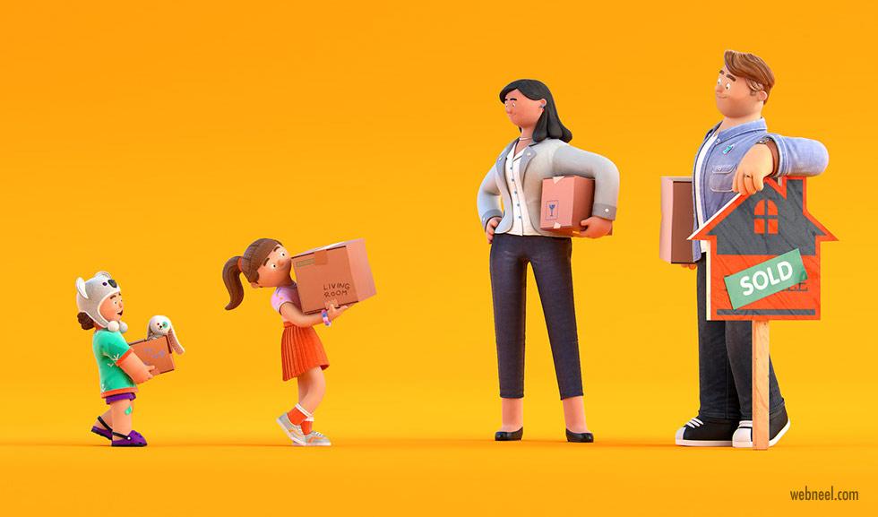 funny 3d character design model family