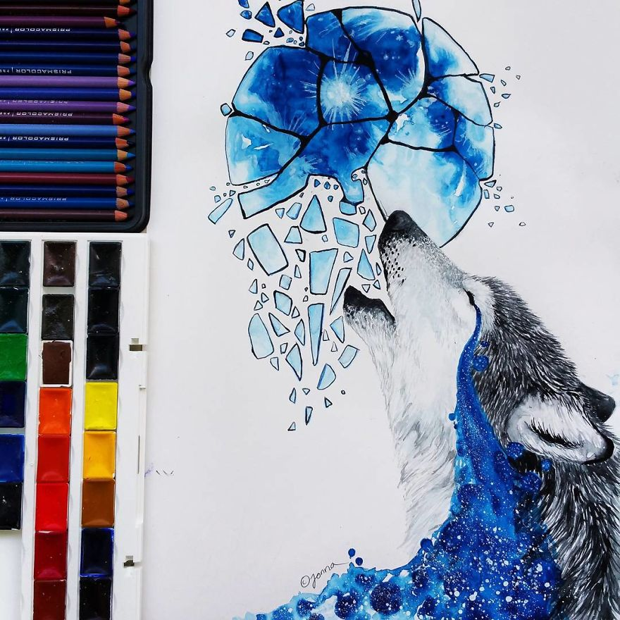 watercolor paintings wolfhowl by jonna hyttinen