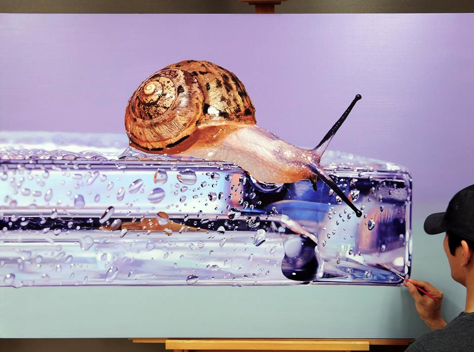 hyper realistic paintings snail by young sung kim