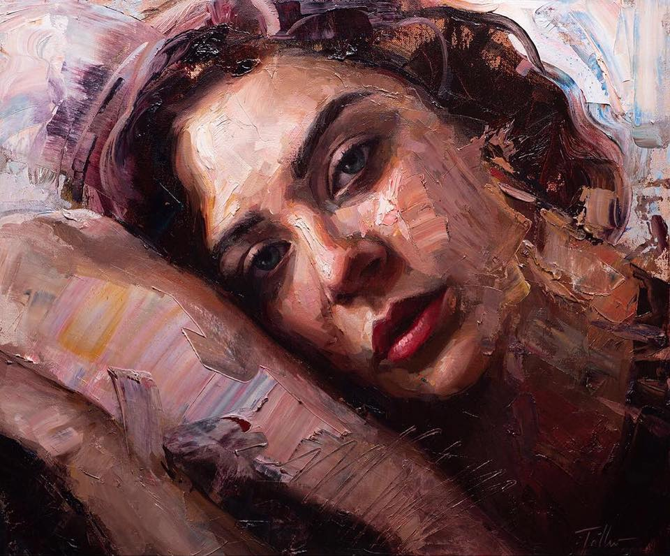 oil painting sleep