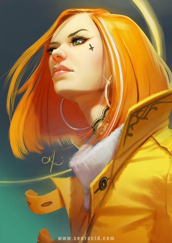digital painting artworks yellowlady