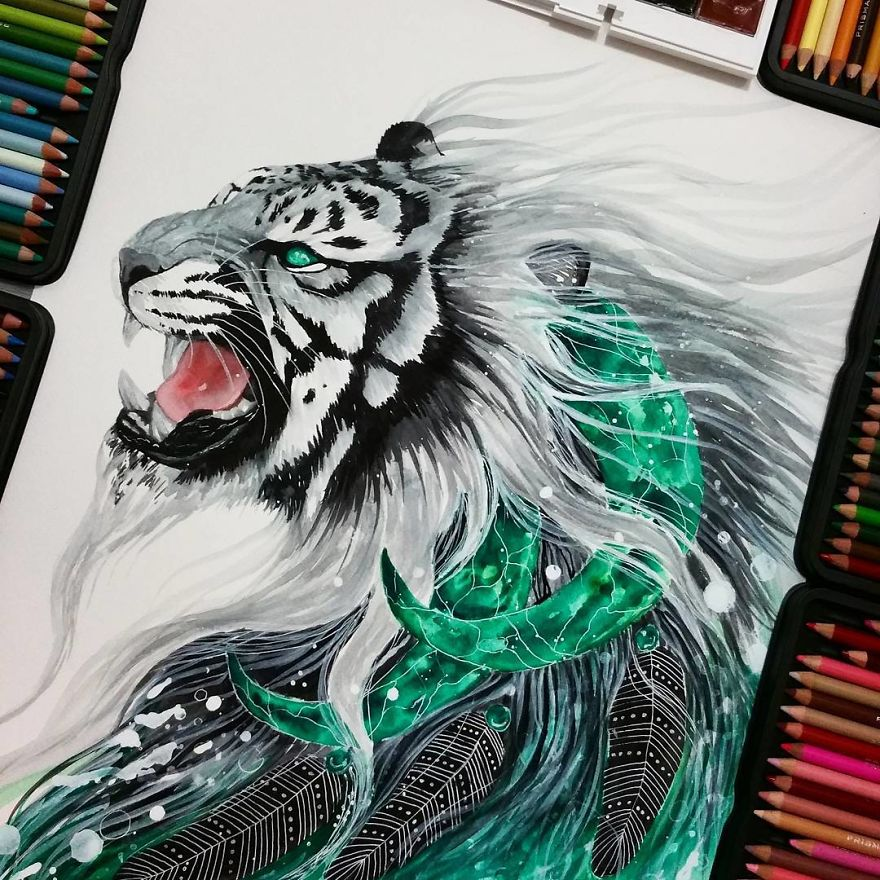 watercolor paintings whitetiger