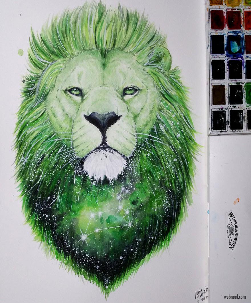 lion painting by jonna hyttinen