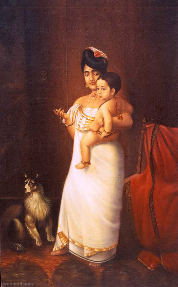 raja ravi varma old oil paintings kerala india portrait