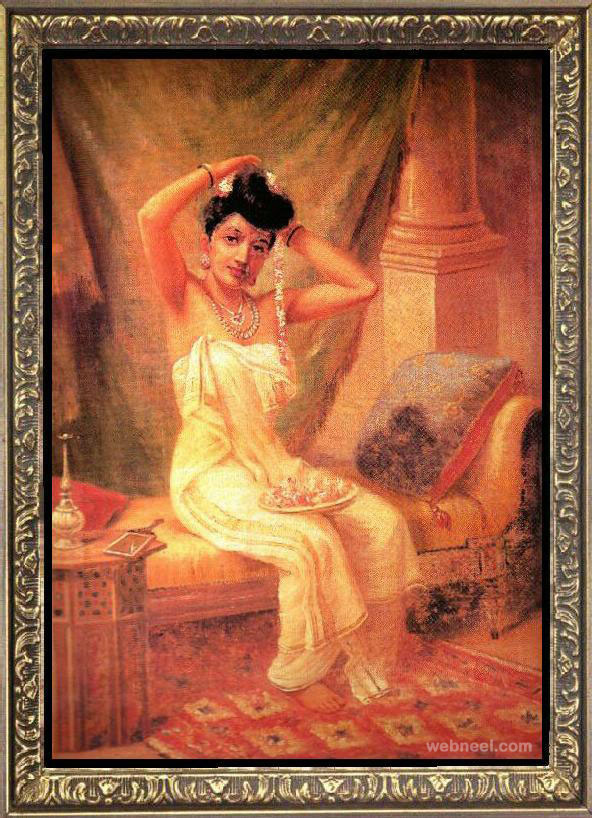lady dressing ravi varma paintings