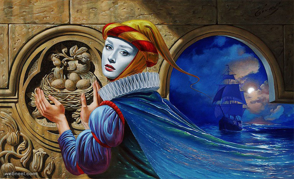 absurdity surreal illusion oil paintings