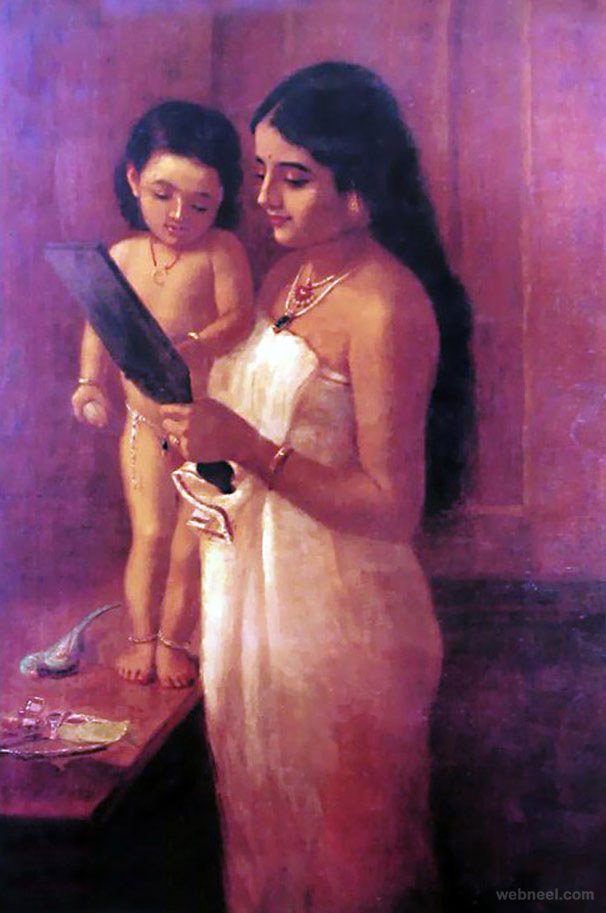 looking mirror ravi varma paintings