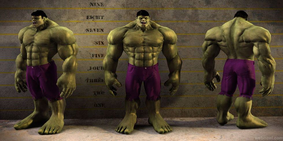 hulk 3d monster character