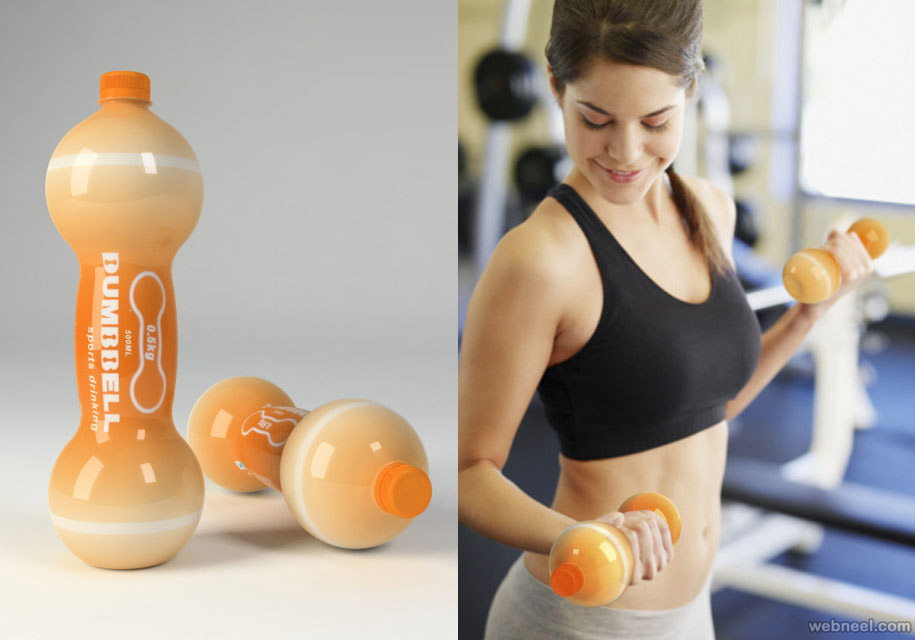 dumbbell sport drink brilliant packaging design