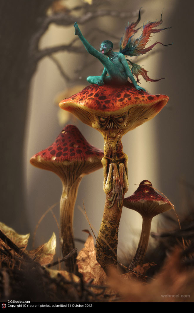 mushroom 3d design by laurent pierlot