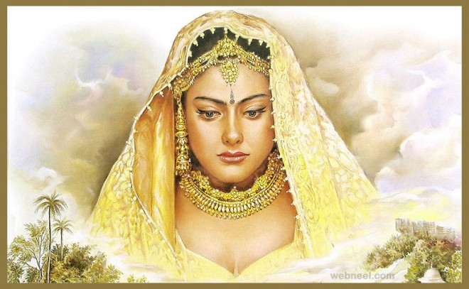 Painting Of Indian Woman Face | www.pixshark.com - Images ...