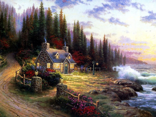 - Landscape Oil Painting By Thomas Kinkade