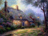 oil painting by thomas kinkade