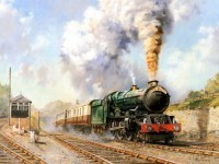 train oil painting by howard fogg