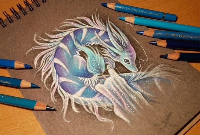 dragon color pencil drawing