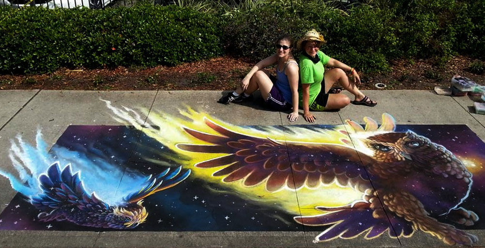 space owls chalk art