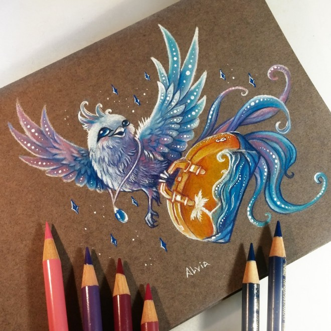 travel bird color pencil drawing