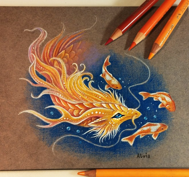 golden dragon color pencil drawing