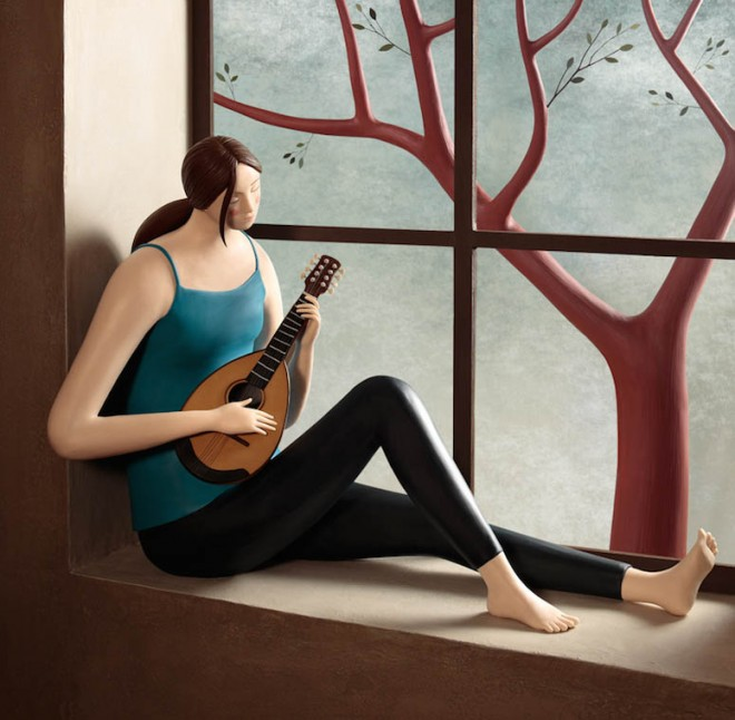mandoline realistic clay sculptures by irma gruenholz
