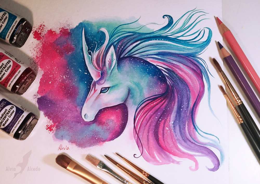 space unicorn color pencil drawing