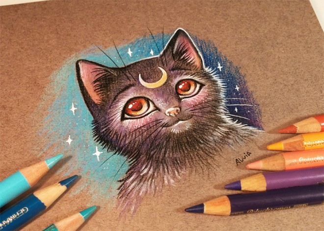 cat luna color pencil drawing