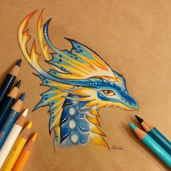 tropical dragon color pencil drawing