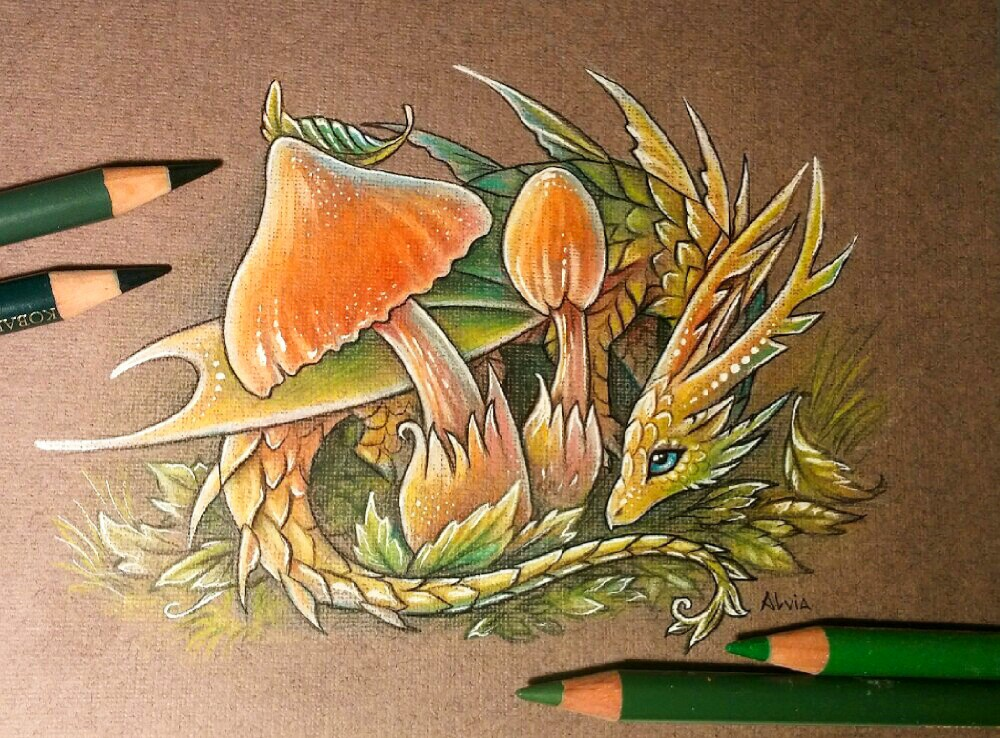forest guardian color pencil drawing