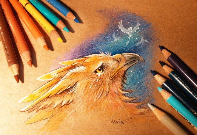 night of memories color pencil drawing