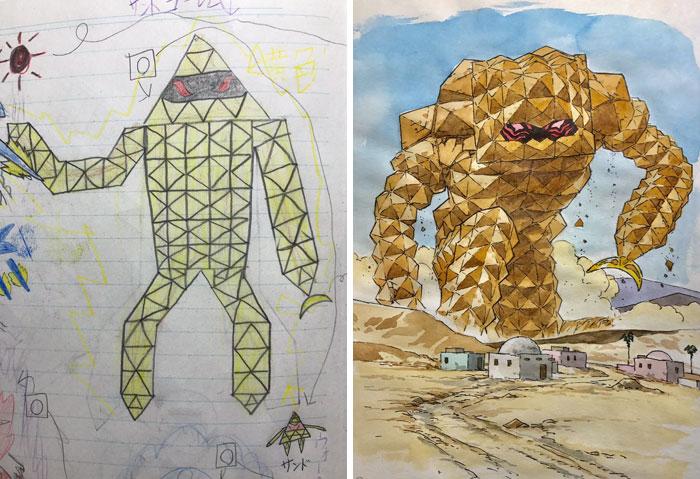 sand golem anime drawing
