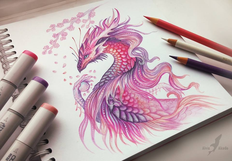 Dragon Color Pencil Drawing By Alvia Alcedo 4