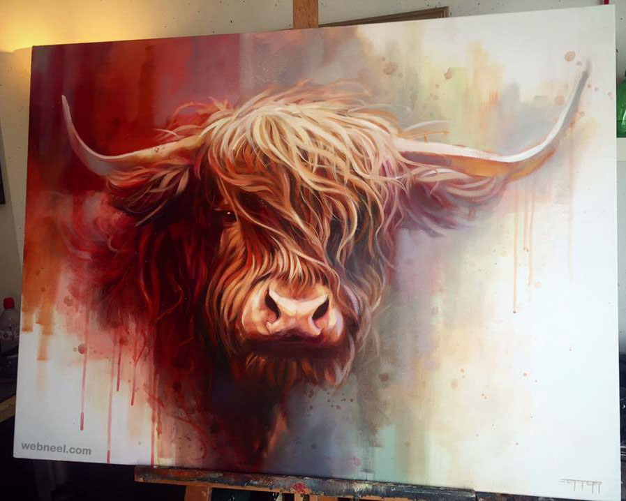 buffalo animal painting